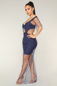 Pearls Of Wisdom Bandage Dress - Navy