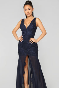 In Awe Lace Dress - Navy