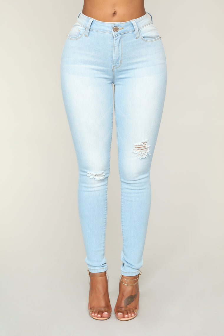 No Muffin Top Ankle Jeans - Light Blue Wash