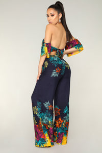 Mia Tropical Jumpsuit - Navy