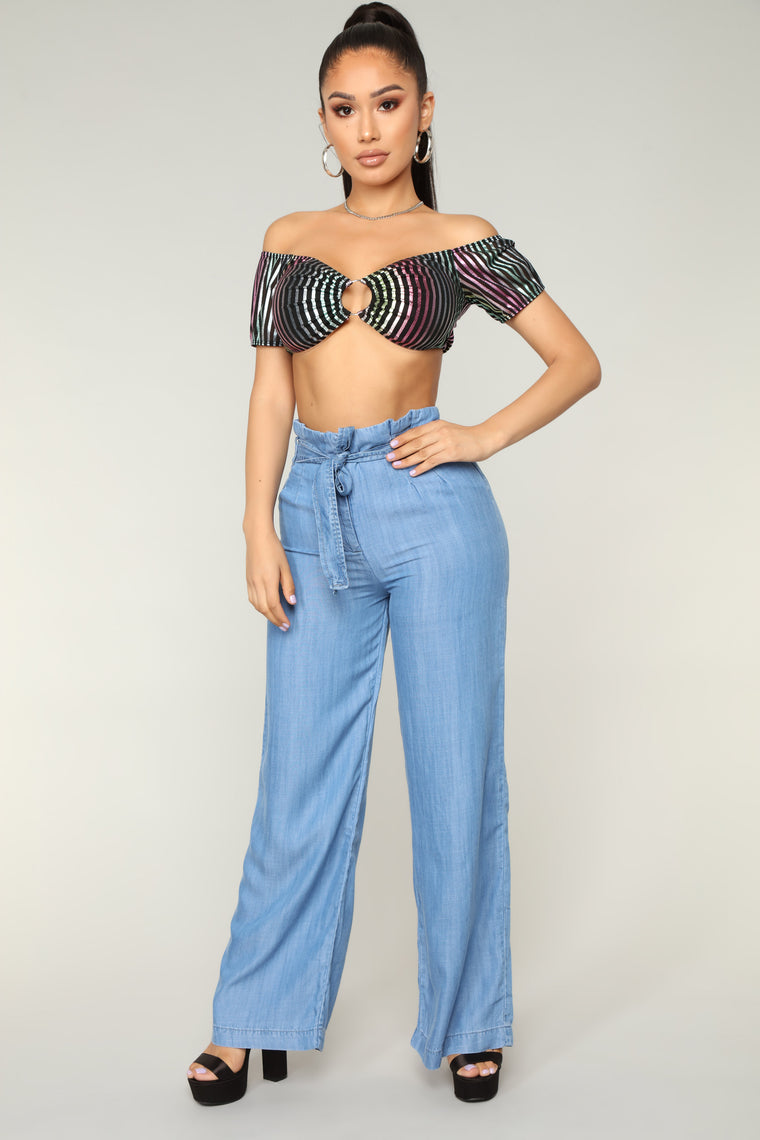 Strong Vibes Tie Waist Pants - Light Blue Wash