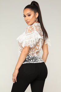 Statement Ruffle Top - Ivory