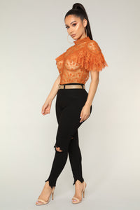 Statement Ruffle Top - Rust