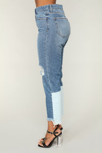 Up To Here High Rise Jeans - Medium Blue Wash