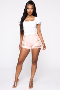 Keep In Touch Distressed Shorts - Light Pink
