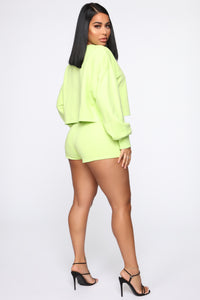Made A Deal Lounge Shorts - Lime Angle 6
