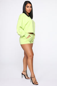 Made A Deal Lounge Shorts - Lime Angle 4