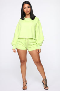 Made A Deal Lounge Shorts - Lime Angle 2