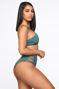 Quiet Waves Lace Up Bikini - Hunter Green