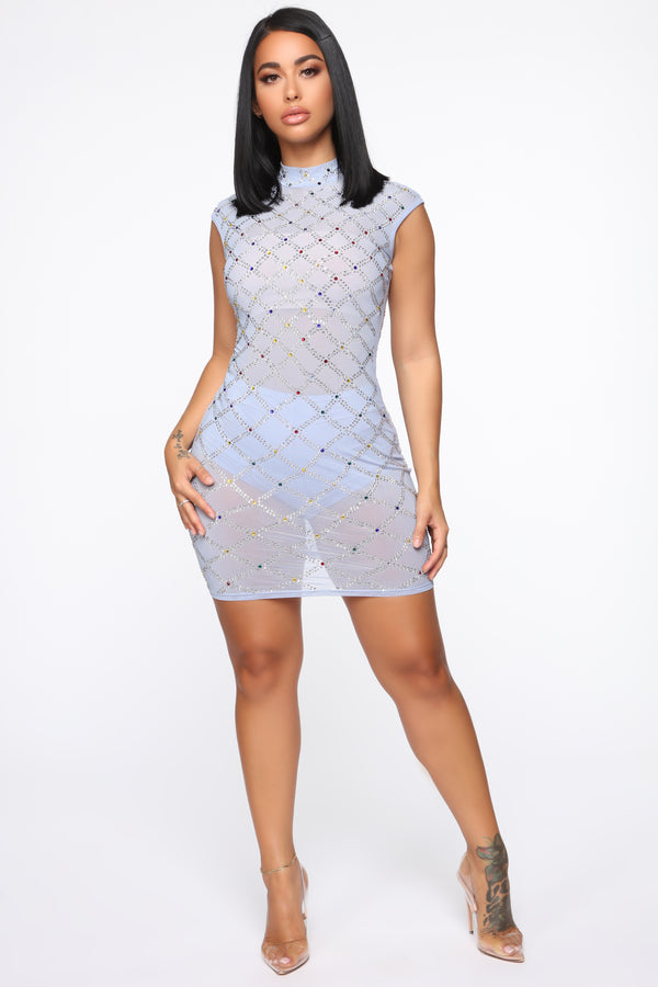 fccd0629330 Bedazzle The Crowd Rhinestone Dress - Light Blue