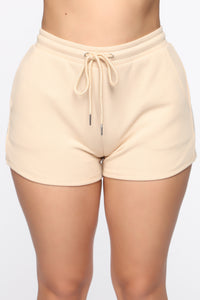 Made A Deal Lounge Shorts - Tan Angle 1