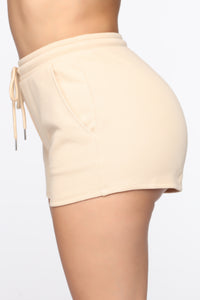 Made A Deal Lounge Shorts - Tan Angle 3
