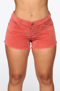 Dip It Low Rise Corduroy Shorts - Rust Angle 1