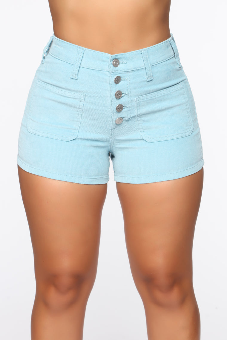 Got Me Exposed Button Corduroy Shorts - Blue