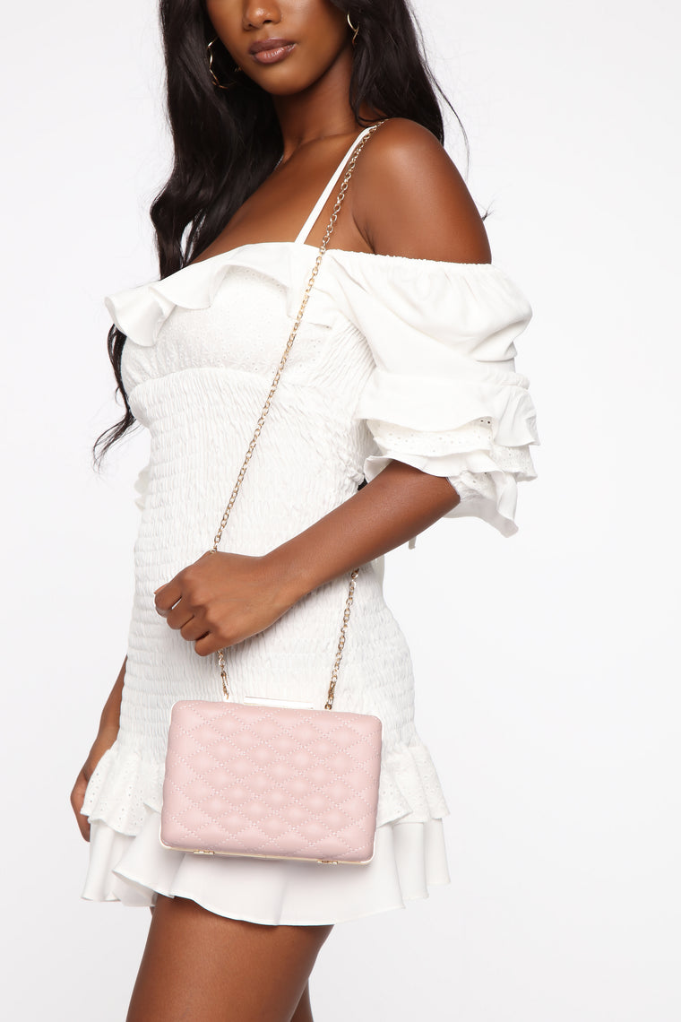 Cross My Path Quilted Clutch - Blush