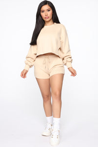 Made A Deal Lounge Shorts - Tan Angle 2