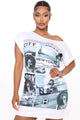 News Boy Tee Dress - White/combo
