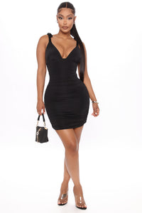 Dining In Ruched Mini Dress - Black Angle 1