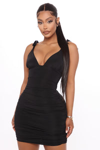 Dining In Ruched Mini Dress - Black Angle 2