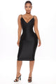 Keeping It Ruched Bodycon Midi Dress - Black
