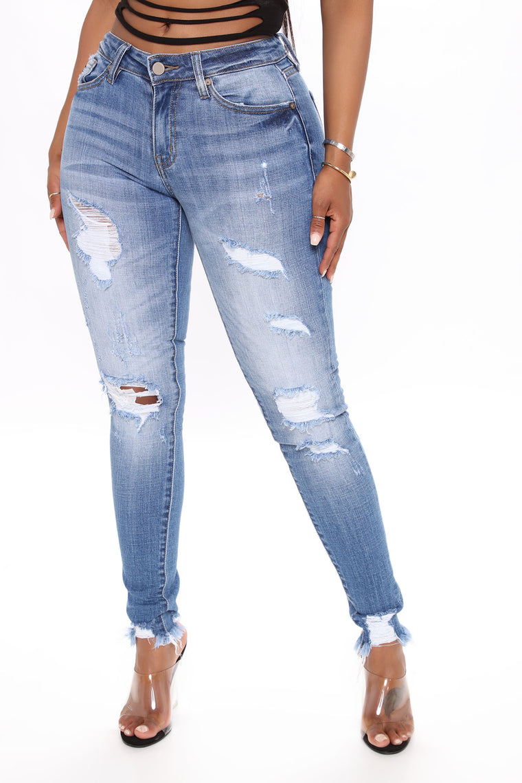 In A Dream Mid Rise Skinny Jeans - Medium Blue Wash