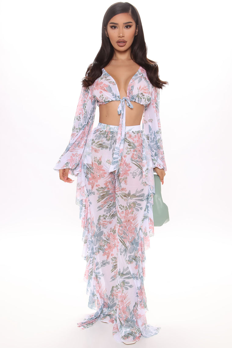 Shuffle And Ruffle Cover Up Set - White/combo