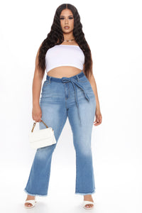 Geraldine Belted Flare Jeans - Medium Blue Wash Angle 5