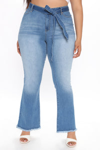 Geraldine Belted Flare Jeans - Medium Blue Wash Angle 6