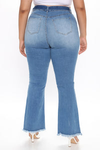 Geraldine Belted Flare Jeans - Medium Blue Wash Angle 7
