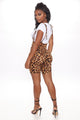 Leopard Queen Overall Short - Brown/combo