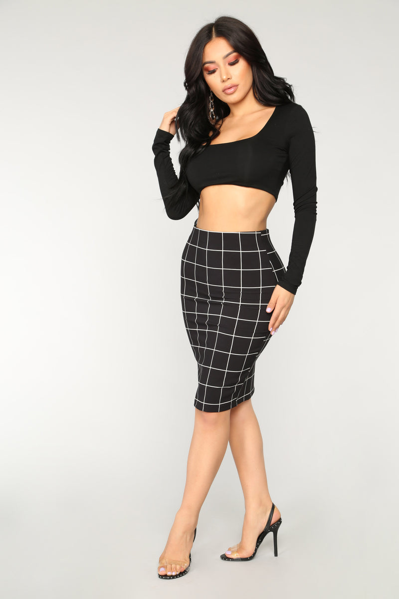 Stay In The Lines Skirt - Black