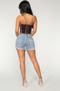 Just Another Day Denim Shorts - Dark Denim
