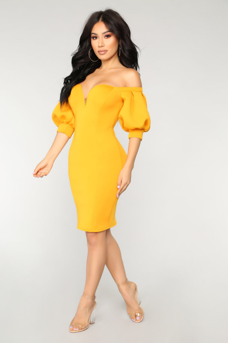 Belle To Remember Dress - Mustard