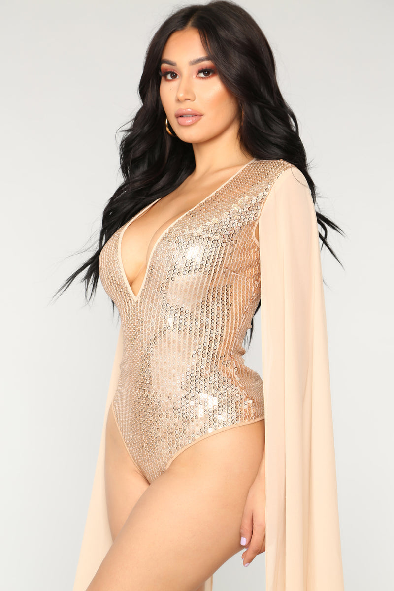 When It's Dark Out Sequin Bodysuit - Gold