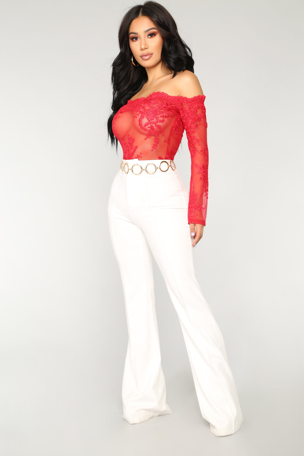 No Limits Off Shoulder Bodysuit - Red