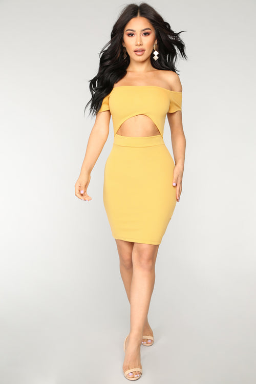 Making It Work Off Shoulder Dress - Mustard