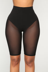 Meshin' Around Mesh Biker Shorts - Black