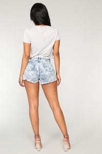 Watch Out Denim Shorts - Acid Wash Blue