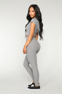 Let The Adventure Begin Leggings - Grey Angle 4