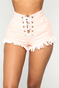 No Limits Lace Up Denim Shorts - Pink