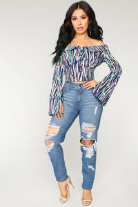A Little Too much Off Shoulder Top - Navy Multi