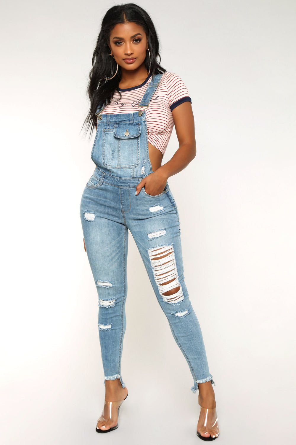 Over It Distressed Overalls - Medium Blue Wash