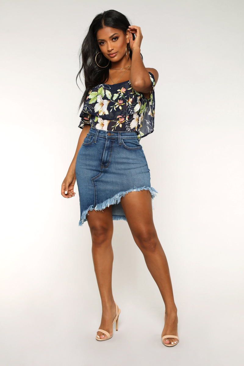 Bad All By Myself Denim Skirt - Medium Dark