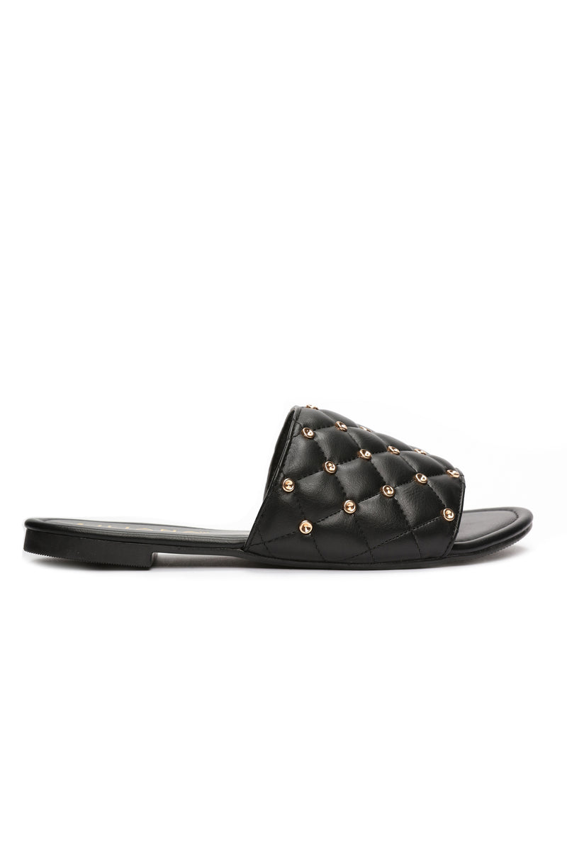 Studded Sis Slide - Black