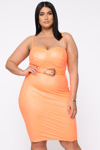 Coming In Hot Faux Leather Midi Dress - Neon Orange