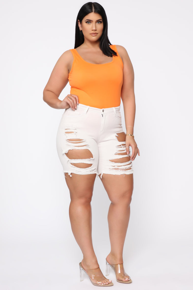 Ava Sleeveless Bodysuit - Neon Orange