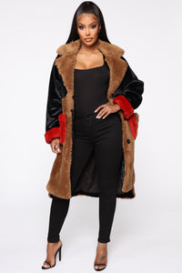 Bound To You Faux Fur Coat - Black/Brown Angle 1