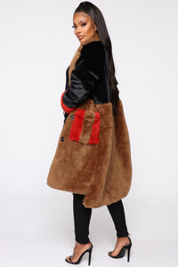 Bound To You Faux Fur Coat - Black/Brown Angle 3