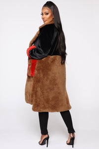 Bound To You Faux Fur Coat - Black/Brown Angle 4