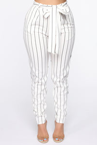 Waste My Time Tie Waist Pants - Ivory